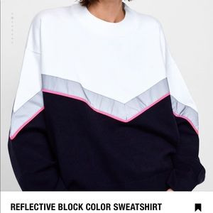 Reflective block color sweatshirt